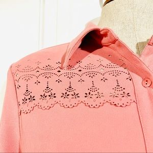 Vtg TRADITION Laser Cut Button Front Long Sleeve